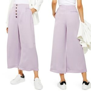 Topshop Coco Satin Lilac Wide Leg Trousers Crop 10
